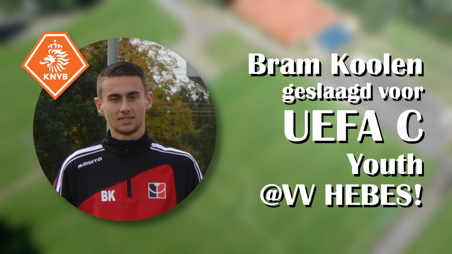 Bram Koolen geslaagd voor UEFA C Youth